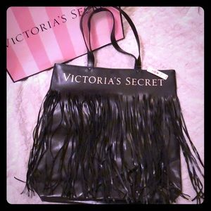 Victoria's Secret leather fringe tote black NWT